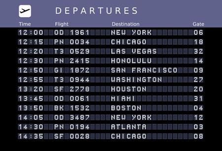 Scheda di partenza - aeroporti di destinazione. illustrazione - le lettere e i numeri per la modifica facile dei propri messaggi sono incorporati al di fuori dell'area di visualizzazione. Destinazioni USA: New York, Chicago, Las Vegas, Honolulu, San Francisco, Washington, Houston, Miami, B