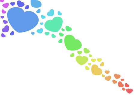 lesbienne: Amour et romance. Rainbow hearts (symbole de gai et de lesbien) isolé sur blanc - illustration de la Saint Valentin.