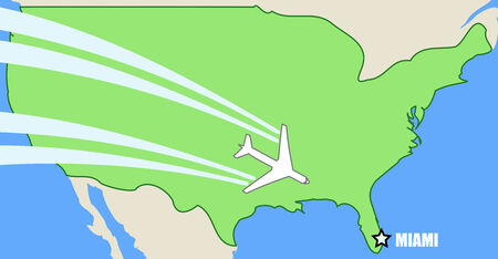 Simplified Vector map of USA with airplane inflight to destination Miami, Florida Vector