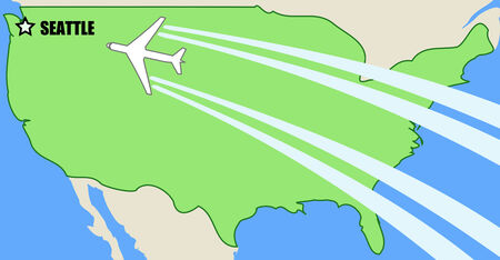 Simplified Vector map of USA with airplane inflight to destination Seattle, Washington Vector
