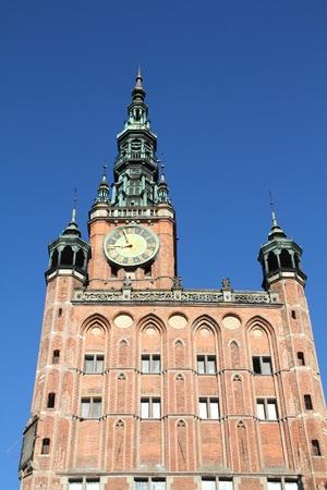 nas: Poland - Gdansk city (also know nas Danzig) in Pomerania region. Famous Main Town Hall..