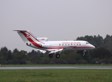 WARSAW - AUGUST 31: Polish Air Force government Yak-40 on August 31, 2010 at Warsaw Chopin airport, Poland. The aging fleet of Polish government is goint to be replaced soon.