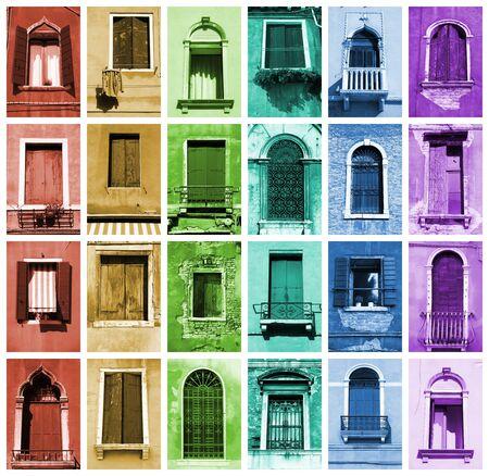 Windows of Venice, Italy. Window collection in rainbow arrangement. Stock Photo - 8688809