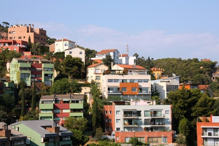 tibidabo: Barcelona in Catalonia - residential suburb on Tibidabo hill Stock Photo