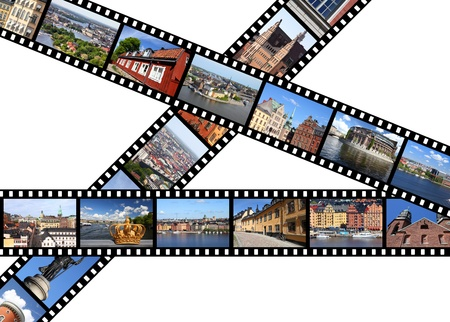 Illustration - film strips with travel memories. Stockholm, Sweden. All photos taken by me, available also separately. illustration