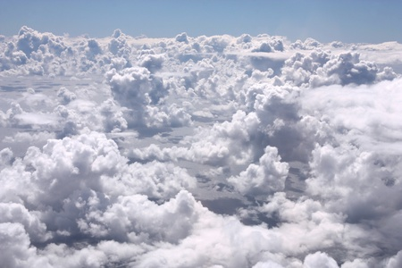 cumulus: Aerial view from an aircraft - cumulus clouds Stock Photo
