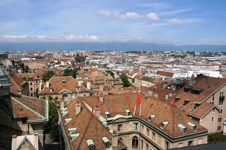 Aerial view of Geneva, Switzerland, seen from the top of cathedral photo