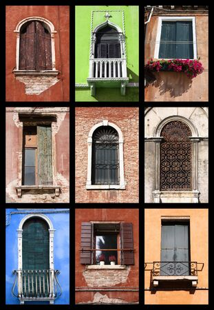 venice italy: Windows of Venice, Italy. Colorful collection of old architecture.