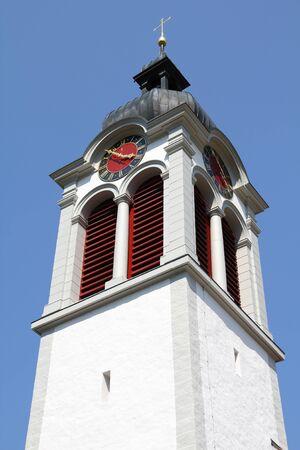 st gallen: St. Peterzell in Canton of St. Gallen, Switzerland. White church.
