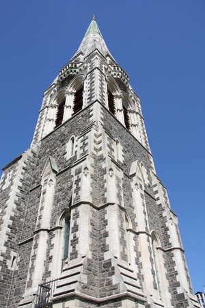 infamous: ChristChurch Anglican cathedral in Christchurch, Canterbury, New Zealand. This tower collapsed after infamous 2011 earthquake.