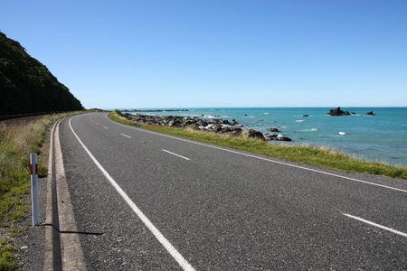 kaikoura: Kaikoura, South Island of New Zealand. Beautiful coastline road. Stock Photo