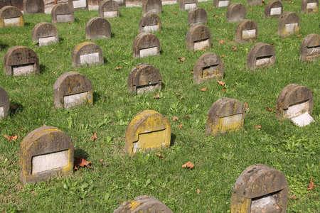 monumental cemetery: Milan, Italy. Famous landmark - old Jewish gravestones at the Monumental Cemetery (Cimitero Monumentale)