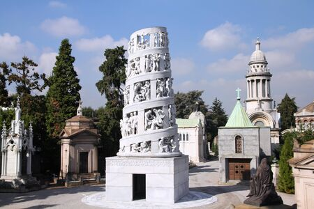 monumental cemetery: Milan, Italy. Famous landmark - the Monumental Cemetery (Cimitero Monumentale)