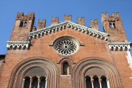 gotico: Piacenza, Italia - región Emilia-Romaña. Palacio Communale, también conocido como Il Gotico. Foto de archivo