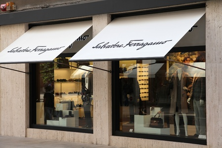 VALENCIA - OCTOBER 8: Salvatore Ferragamo store on October 8, 2010 in Valencia, Spain. SF is a luxury fashion brand, it provided Margaret Thatcher's handbags, and footwear for Princess Diana, Audrey Hepburn and Sophia Loren. Stock Photo - 9232119