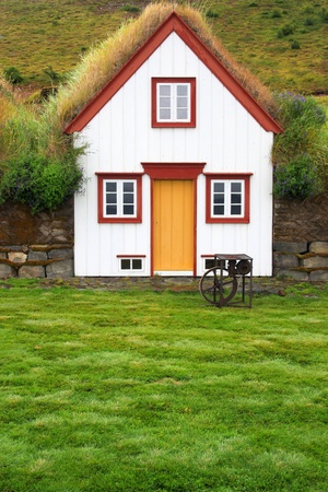 Iceland - typical rural turf house. Old architecture with grassy roof - Laufas. Stock Photo - 9262101