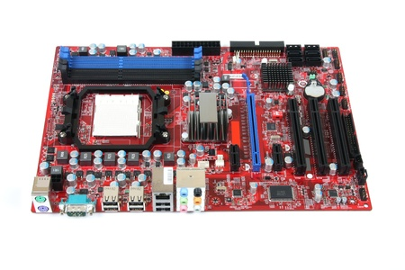 Modern PC computer mainboard. Electronic board isolated against white background. Logos and trademarks removed. Stock Photo - 9262095