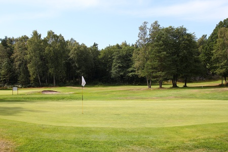 kristiansand: Golf course in Kristiansand, Norway. Putting green. Stock Photo