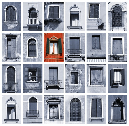 Windows of Venice, Italy. Old architecture. One prominent red window.