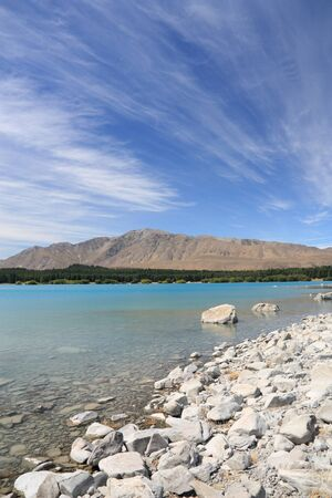 tekapo: Lake Tekapo landscape in Canterbury region of New Zealand