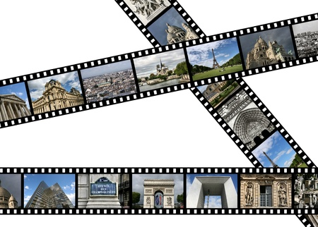 Illustration - film strips with travel photos. Paris in France. All photos taken by me. illustration