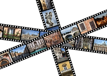 Film strips with travel photos. Rome, Italy, Europe. photo