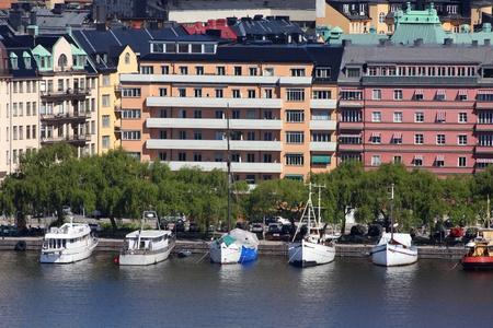 Stockholm, Sweden. Kungsholmen island seen from Sodermalm island, across Riddarfjarden channel. photo