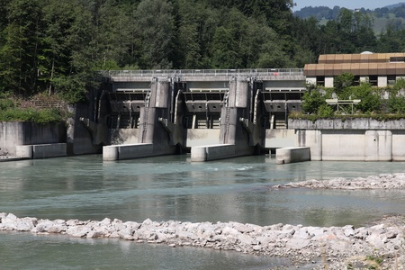 Hydro power plant on Salzach river in Schwarzach im Pongau, Austria. Concrete dam. photo