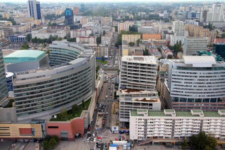 Warsaw, Poland. View of skyscrapers and older architecture from famous Palace of Culture and Science, tallest building in Poland. Stock Photo - 9445928