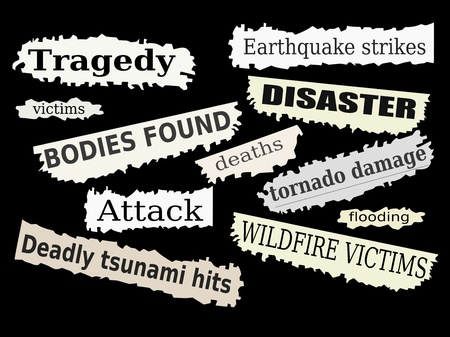 Newspaper cuttings and headlines. Natural disasters and tragedies.