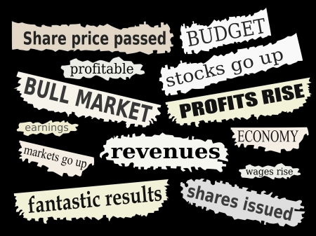 headlines: Newspaper cuttings and headlines. Good financial news with positive reactions to markets. Illustration