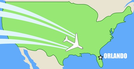 visit us: map of USA with airplane inflight to destination Orlando, Florida