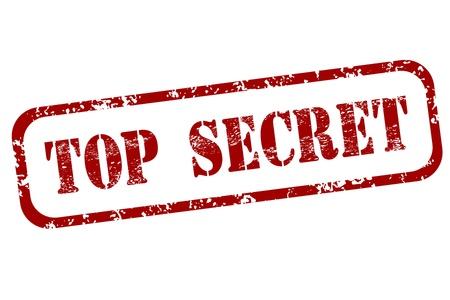 emboutissage: Ent�riner rouge - illustration grungy avec texte Top Secret. Gouvernement secret estampage.