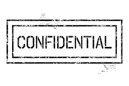 Rubber stamp - grungy illustration with text Confidential. Government secrecy stamping.