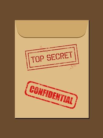 archivi: Documento segreto superiore nella busta. Timbro di gomma - grungy illustrazione con testo riservato e Top Secret.