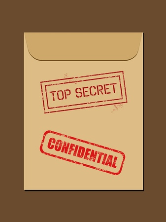 classified: Top secret document in envelope. Rubber stamp - grungy illustration with text Confidential and Top Secret.