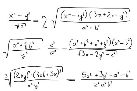 complicación: Mano escrita a mano alzada ilustraci�n - ecuaciones matem�ticas. Polinomios con variables (indeterminados). Vectores