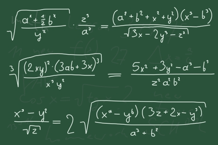 manuscrita: Hand written scribble illustration - mathematical equations. Polynomials with variables (indeterminates).