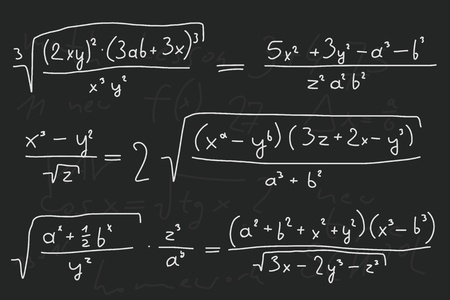 matematik: Hand written scribble illustration - mathematical equations. Polynomials with variables (indeterminates).
