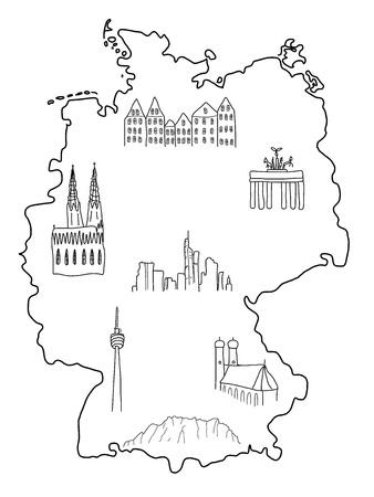 m�nchen: Duitsland - doodle kaart met bekende plaatsen: Berlijn, Hamburg, Keulen, Frankfurt, Stuttgart, München en Alpen