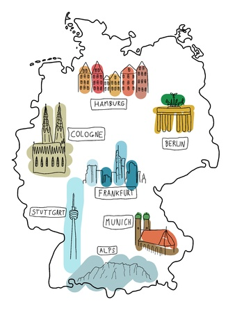 Germany - doodle map with famous places: Berlin, Hamburg, Cologne, Frankfurt, Stuttgart, Munich and Alps Vector