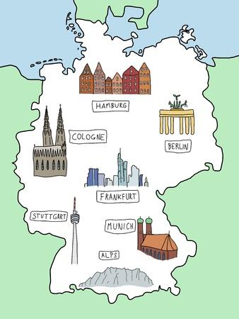 Deutschland - Doodle-Karte mit berühmten Orten: Berlin, Hamburg, Köln, Frankfurt, Stuttgart, München und Alpen. Farb-Variante.