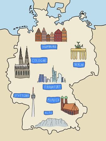 Allemagne - lieux célèbres : Berlin, Hambourg, Cologne, Francfort, Stuttgart, Munich et Alpes. Version couleur de carte doodle.