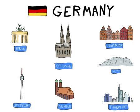 Germany - famous places: Berlin, Hamburg, Cologne, Frankfurt, Stuttgart, Munich and Alps. Doodle illustration.