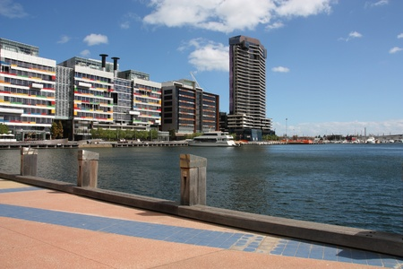 docklands: City view in Melbourne Harbour - Docklands district, Victoria, Australia.