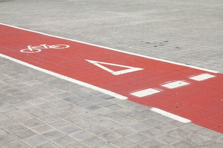 Bicycle path in Valencia, Spain. Cycling way. photo