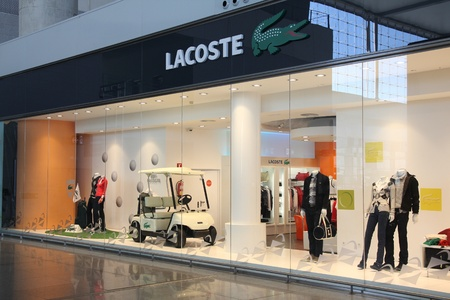 MALAGA - OCTOBER 14: Lacoste store on October 14, 2010 at Malaga International Airport in Spain. Lacoste, French high-end apparel chain is a recognizable fashion brand worldwide.