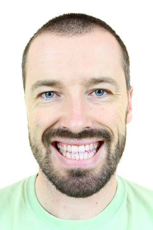 white moustache: Happy smiling man. Young adult near his 30s - portrait isolated against white background. Short-haired male.