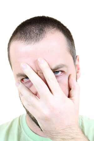 Facepalm gesture showing frustration, disbelief and annoyance. Young adult near his 30s - portrait isolated against white background. Short-haired male. Stock Photo - 9577742