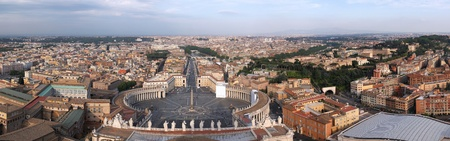 Rome, Italy. Famous Saint Peters Square in Vatican and aerial view of the city - panorama.